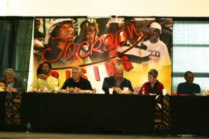 Scene from the Jackson Rising Conference featuring Michael Peck of One Worker/One Vote