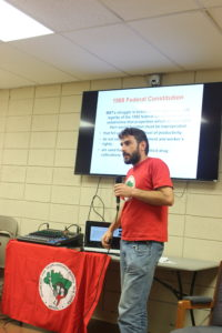Presentation on the struggles of the MST, or Landless People's Movement, in Brazil by Leo Xavier December 2015.