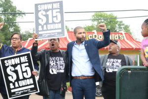 Chokwe Antar Lumumba and Jaribu Hill at Fight for $15 and Union rally April 14, 2016.